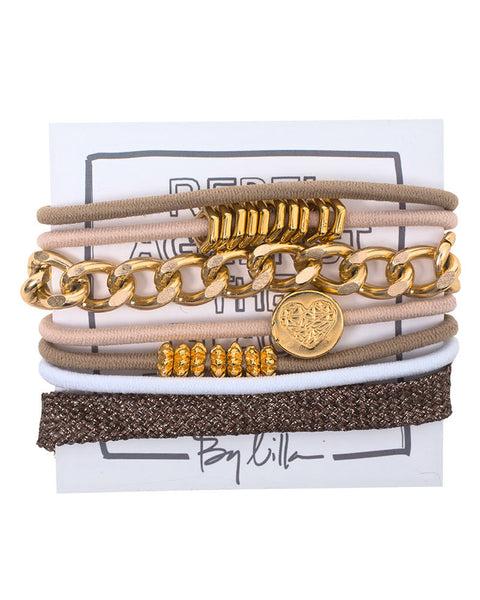 brown gold bracelet set by designer by lilla fun womens ladies girls fashion