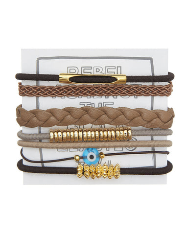 walnut designer hair ties elastics stacks accessory pack
