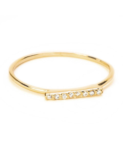 gold rectangular shape ring cz