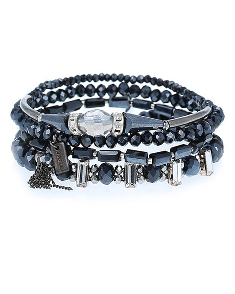 chan luu mixed black crystal bracelet set