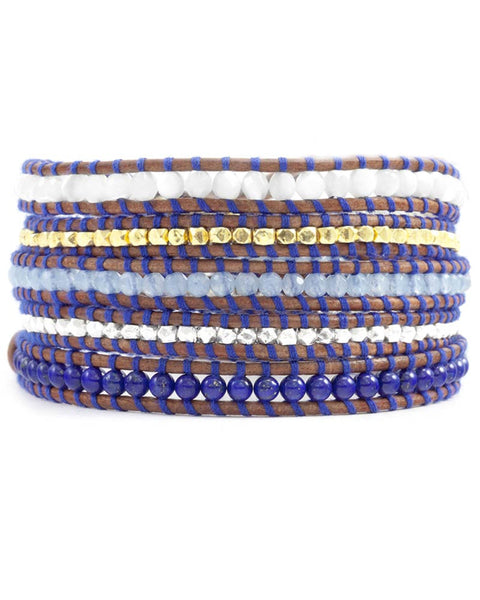 Chan Luu Blue Mix Thread Wrap Bracelet