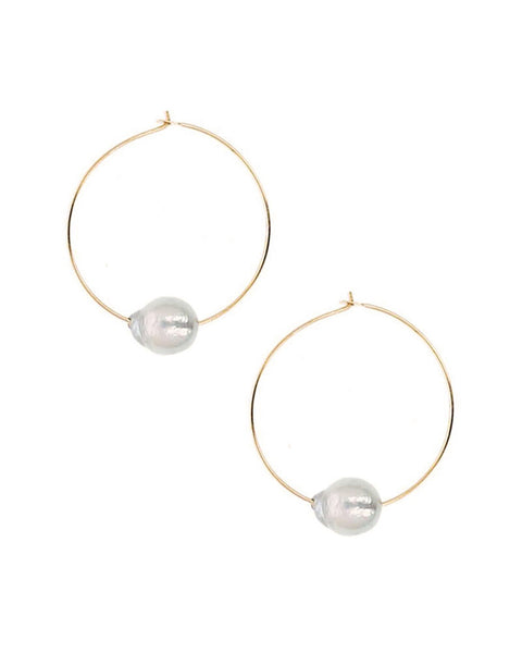 chan luu designer earrings grey pearl hoop gold