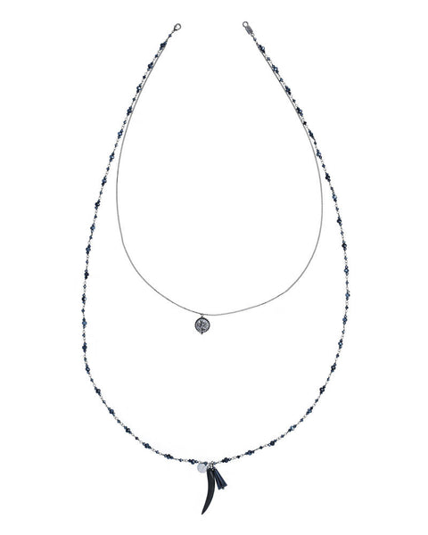 Chan Luu Midnight Crystal Double Layered Necklace