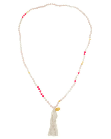 Chan Luu Neon Pink White Beaded Necklace