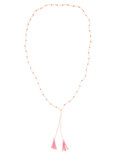 Neon Pink Beaded Tassel Necklace Chan Luu