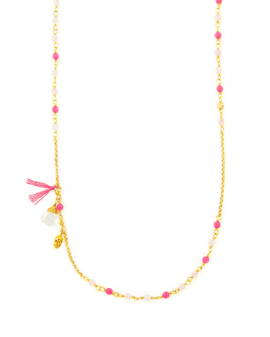 Neon Pink and Gold Chan Luu Skull Necklace