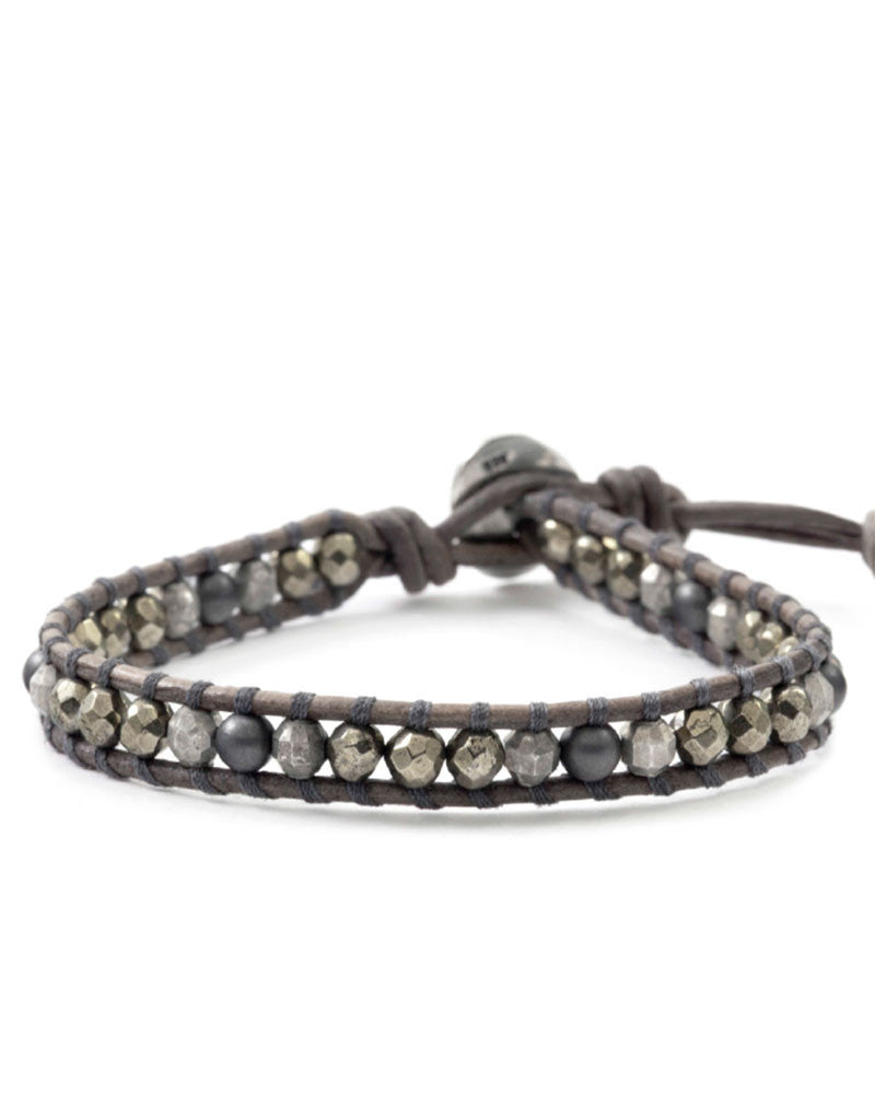 Chan Luu Pyrite Hematine Single Wrap Bracelet