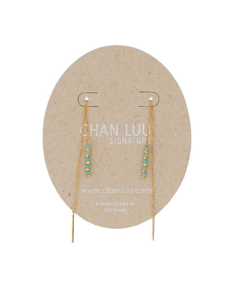 chan luu turquoise threaded earrings gold