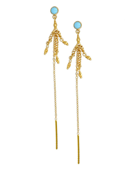 turquoise gold earrings designer chan luu beautiful womens slim chic