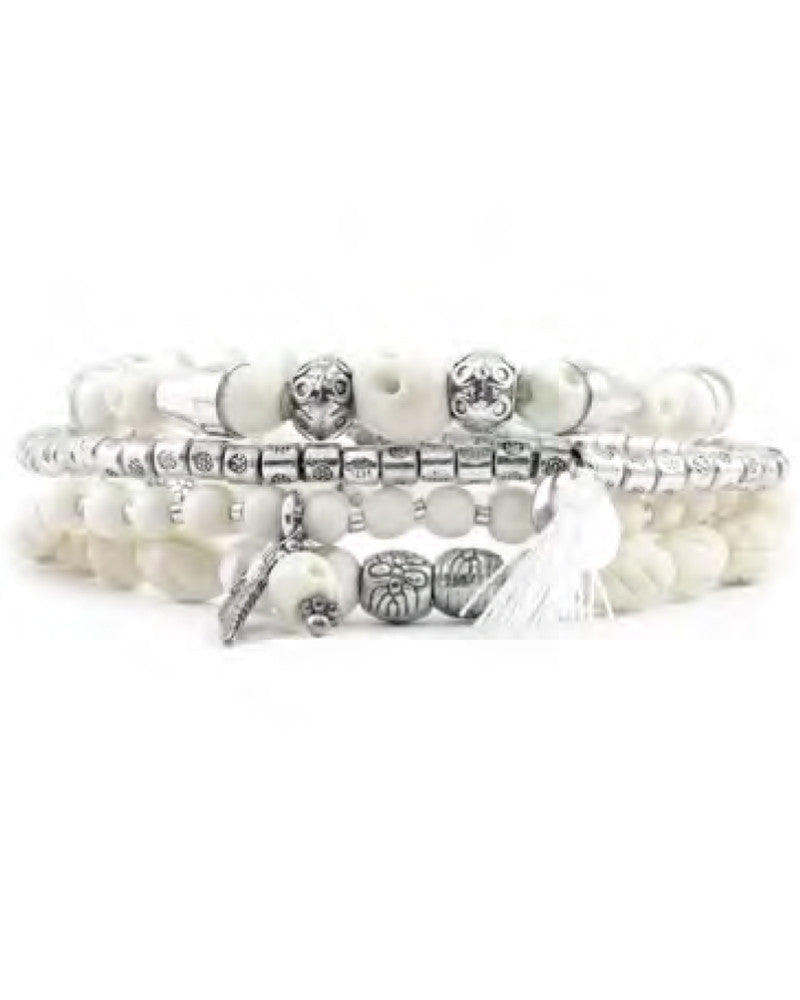 Chan Luu White Beaded Bracelet Skull Set