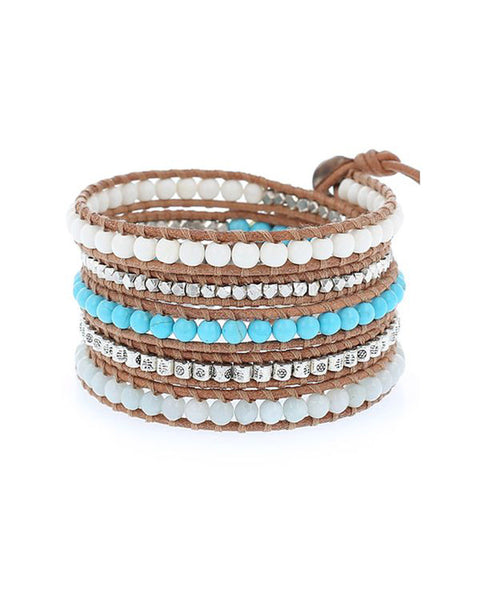 chan luu white bone mix wrap bracelet