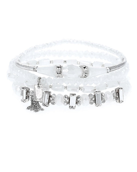 Chan Luu White Mixed Crystal Bracelet Set