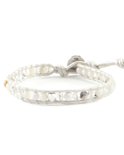 Chan Luu Single Wrap White Opal Bracelet