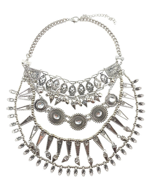 Silver Chunky Boho Layered Necklace