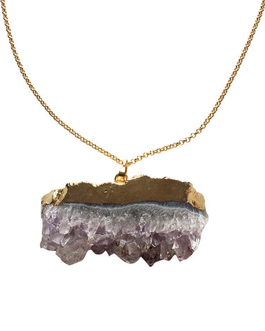 Crave Salt Amethyst Chunk Gold Pendant Necklace