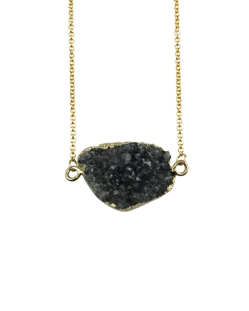 Crave Salt Druzy Quartz Gold Pendant Necklace