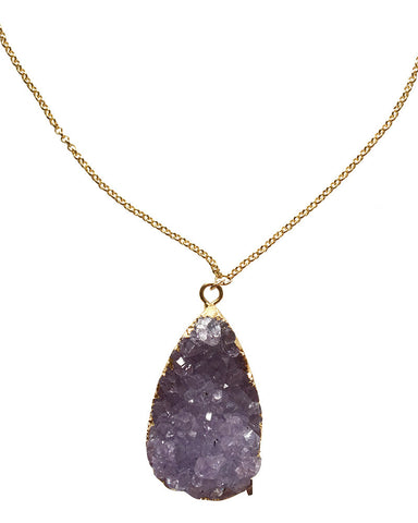 Crave Salt Amethyst Gold Pendant Necklace