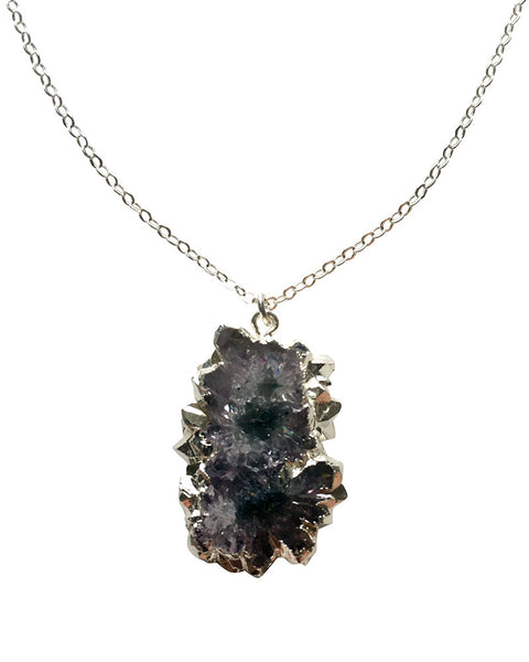 Crave Salt Spike Amethyst Silver Charm Necklace