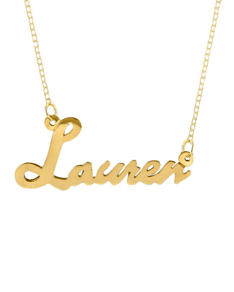 Gold Cursive Name Plate Necklace