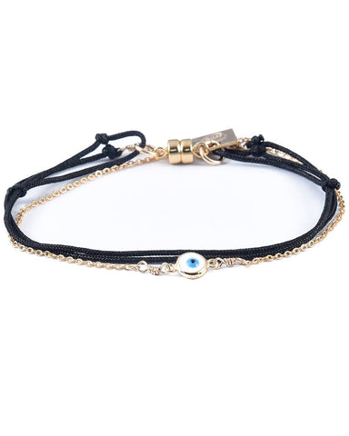 Dafne black wrap with chain enamel evil eye bracelet