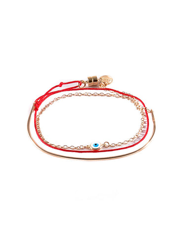 Dafne Evil Eye Arch Wrap Bracelet Red