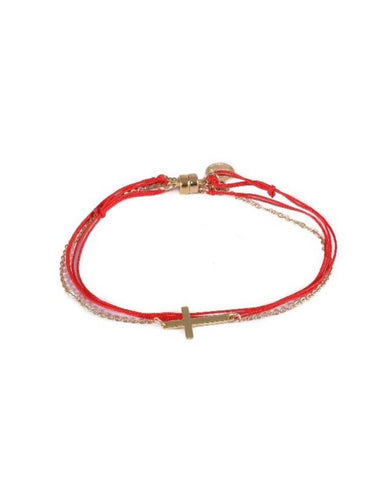 Dafne Cross Wrap Bracelet Red