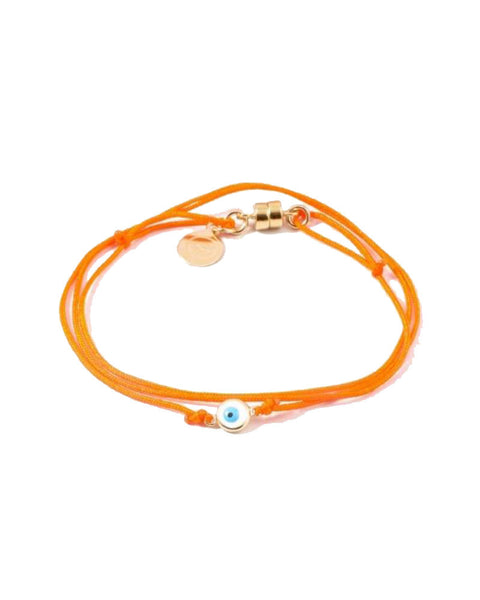 orange dafne evil eye enamel bracelet
