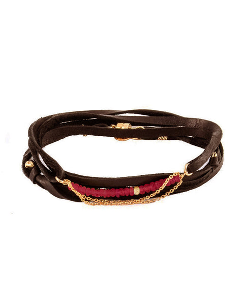 brown ruby leather bracelet womens jewelry designer dafne