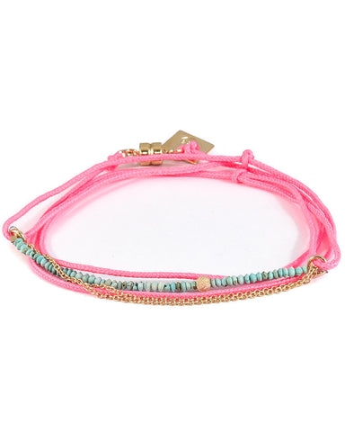 Dafne | Mini Turquoise Pink Wrap Bracelet with Chain
