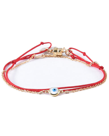 dafne red evil eye enamel bracelet