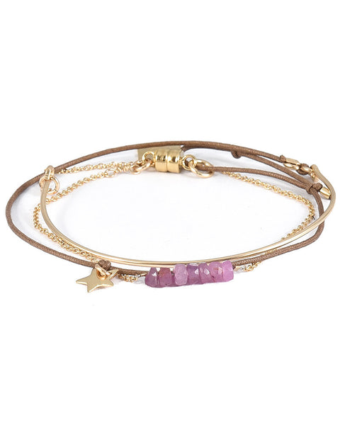 wrap dafne bracelet with pink beads