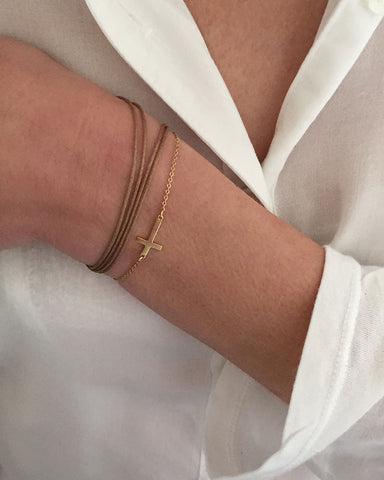 Dafne Bracelet Gold Chain Cross Taupe On
