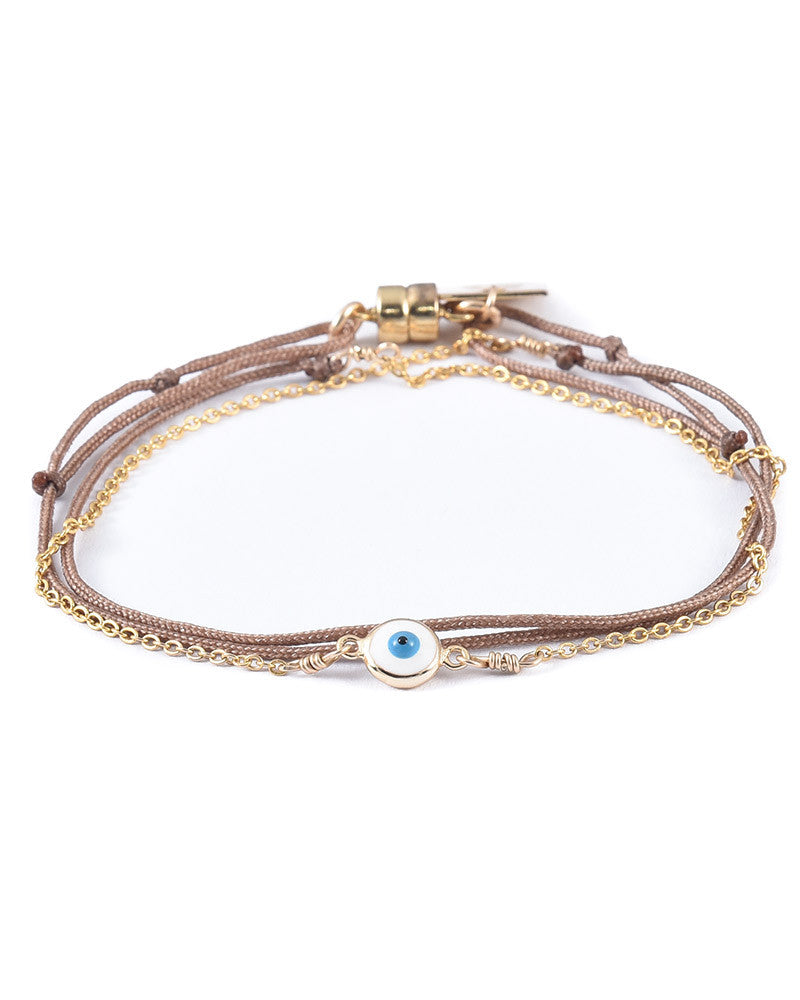 taupe evil eye bracelet with chain