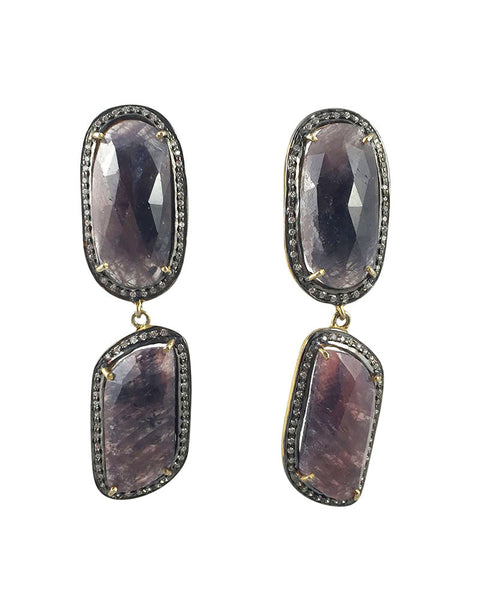 Dark Pink Sapphire Earrings Oval