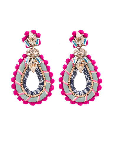 pink elegant designer earrings Deepa Gurnani big womens