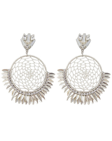 big circle dreamcatcher earrings silver designer womens Deepa Gurnani