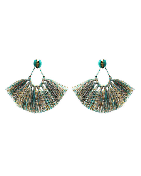 turqouise blue gold tassel earrings womens jewelry designer deepa gurnani