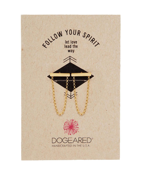 dogearred follow your spirit bar and chain earrings gold