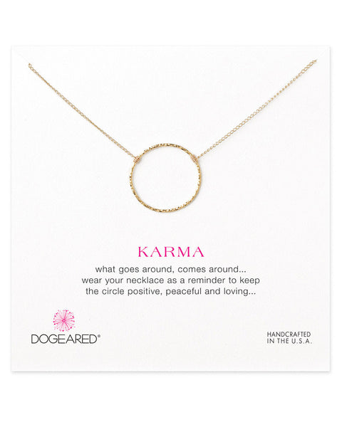 dogearred large circle karma charm necklace