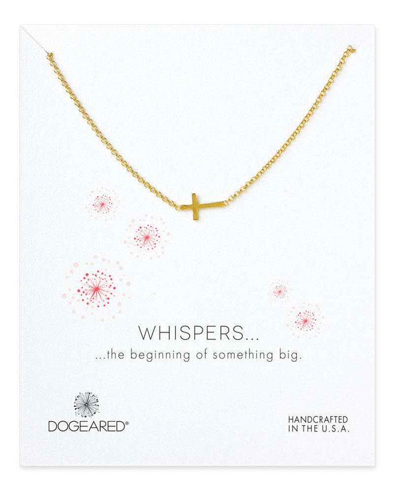 dogeared gold whispers sideways cross necklace