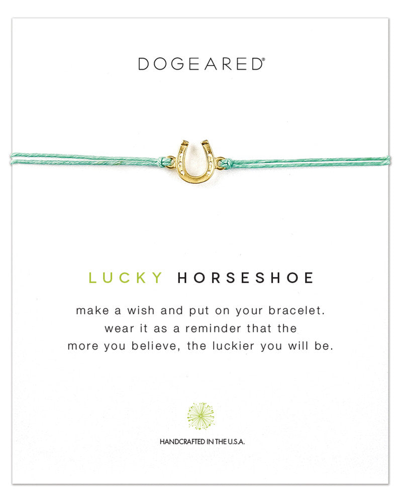 lucky horseshoe bracelet dogeared mint string
