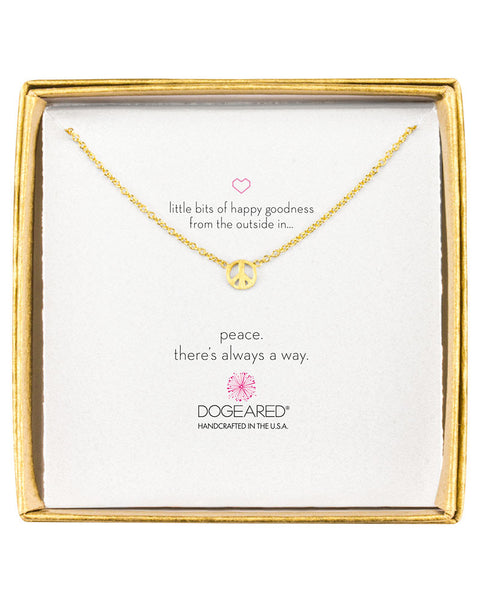 dogeared charm necklace with little peace sign