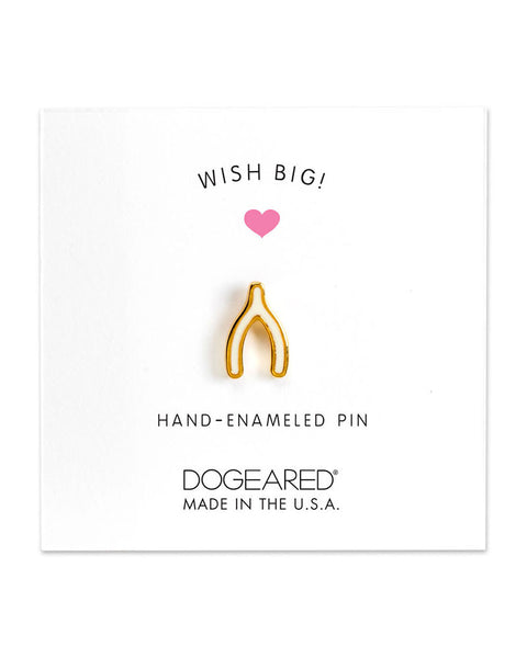 white wishbone enamel pin
