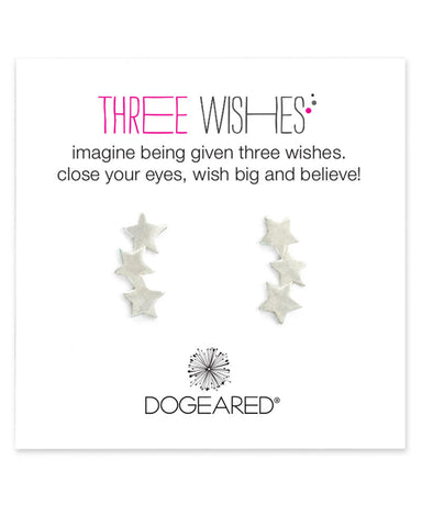 Three wishes silver ear climbers dogeared close