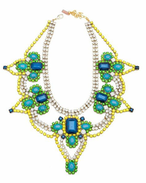 Doloris Petunia Athens Blue Green Necklace
