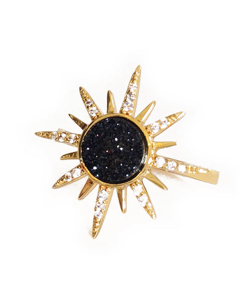 Elizabeth Stone | Gemstone Starburst Ring - Black Druzy