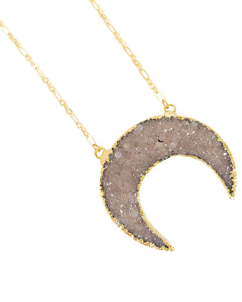 crescent moon shaped druzy elizabeth stone