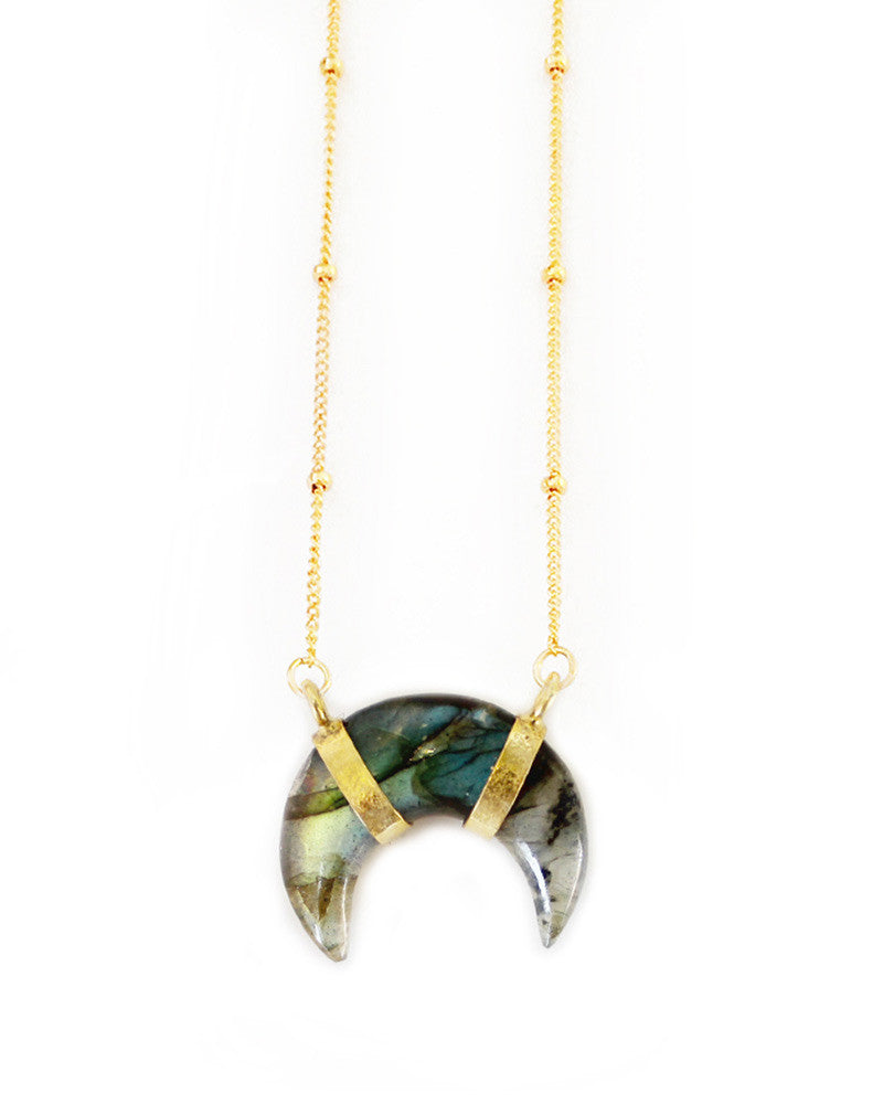 elizabeth stone crescent moon labradorite necklace