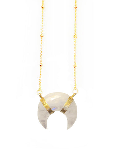 elizabeth stone crescent moonstone necklace