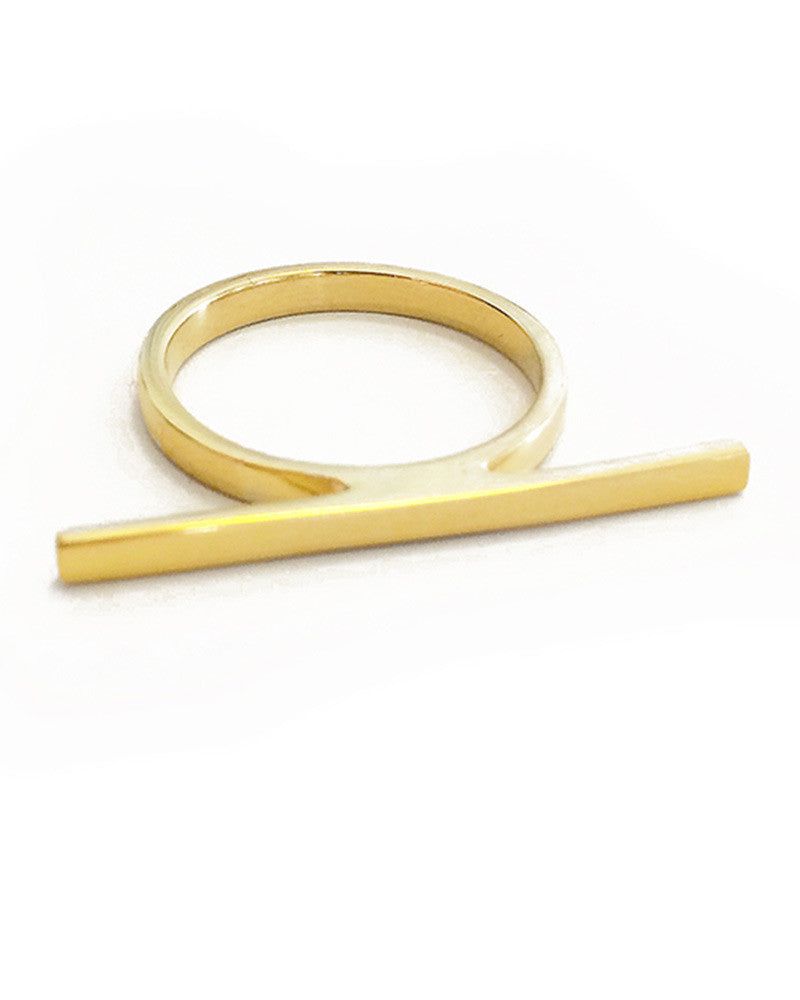elizabeth stone stacking bar ring gold